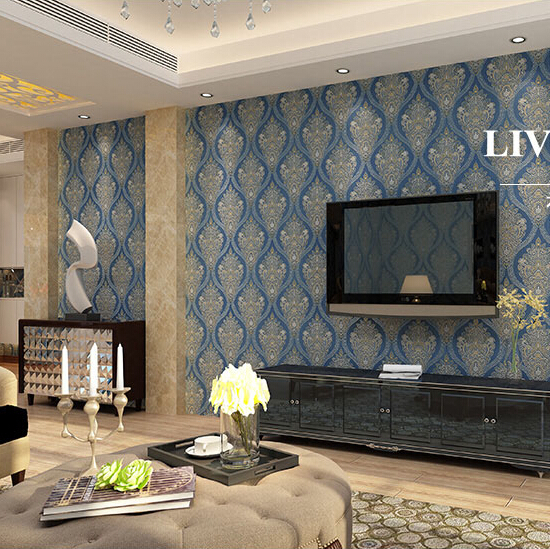 Online buy wholesale blue damask wallpaper from china blue for 3d wallpaper for living room india