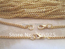 Free shipping Wholesale Retail  Plated gold 70cm x 3mm Chain with lobster clasp 50pcs/lot