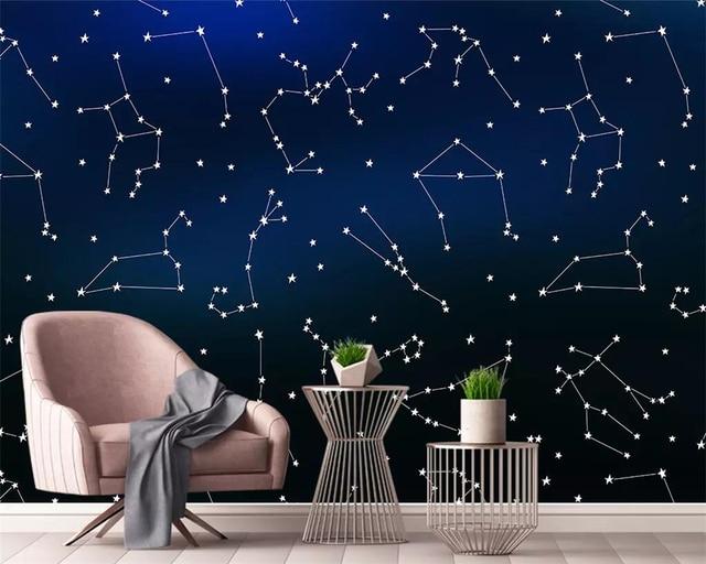 Childrens bedroom wallpaper Night sky constellations 368x254cm Wall mural decor