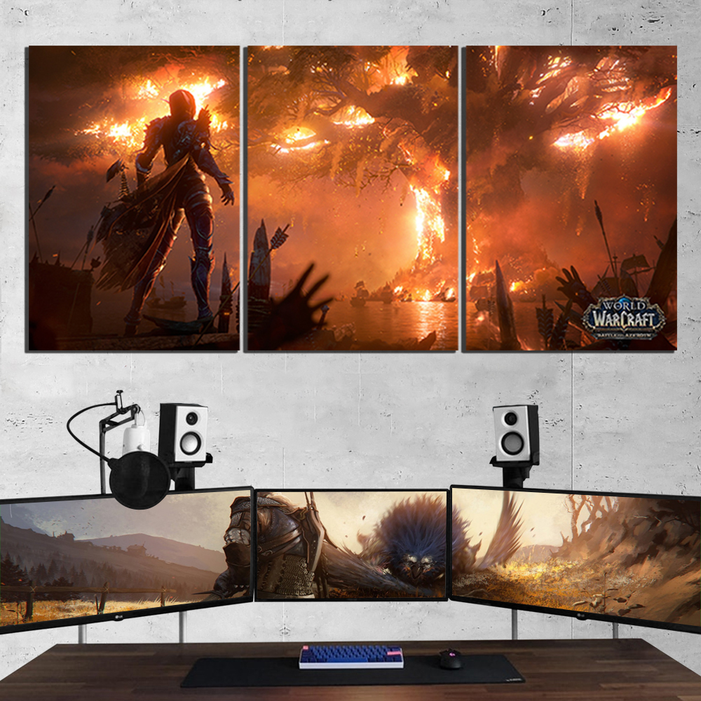 World of Warcraft Canvas Painting Sylvanas Fire Burning Teldrassil Game Poster Print Fan Art Wall Decor Playroom Picture 1