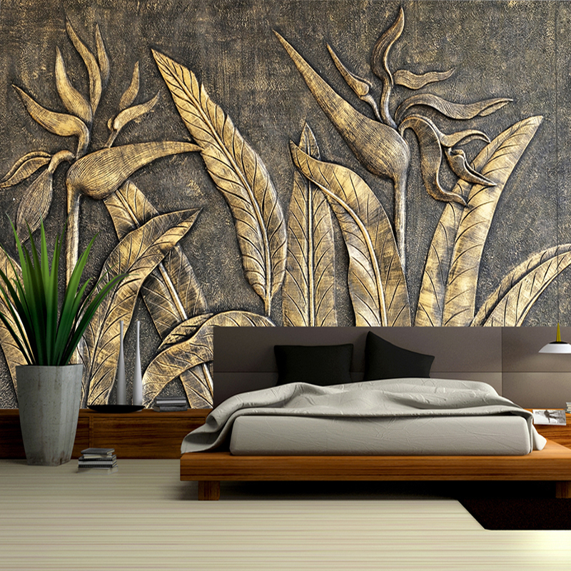 3D Stereoscopic Relief Flower Bird Wall Painting Custom Photo Wall Paper Cafe Restaurant Hotel Bedroom Art Abstract Floral Mural