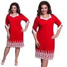Work Office Women Dress Lace Patchwork Big Sizes Casual Loose Dresses Elegant Party Blue Red Dress Sexy Plus Size Vestidos 6XL цены