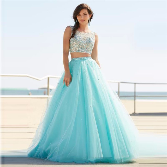 2016 Long 2 Two Piece Prom Dresses Light Blue A Line Scoop Beaded