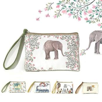 Christmas Women's Mini Canvas Zipper Pouch Cute Elephant Elk Whale Cat Printed Handbag Coin Purse Phone Bag Gifts