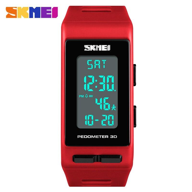 Famosa marca mujeres reloj deportivo SKMEI lujo calorías podómetro electrónico mujeres pulsera Relojes impermeable Digital Reloj mujeres