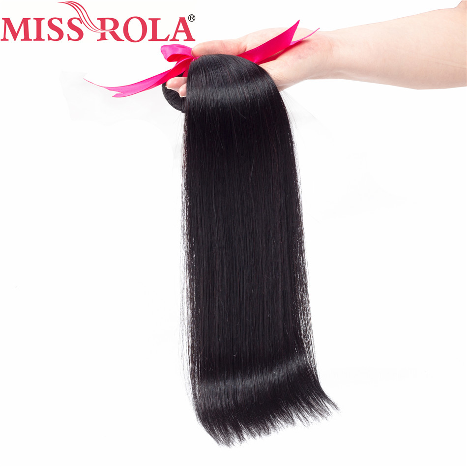 Miss Rola Hair Peruvian Straight 100% Human Hair 3 Bundles With 13 * - Menneskehår (sort) - Foto 3
