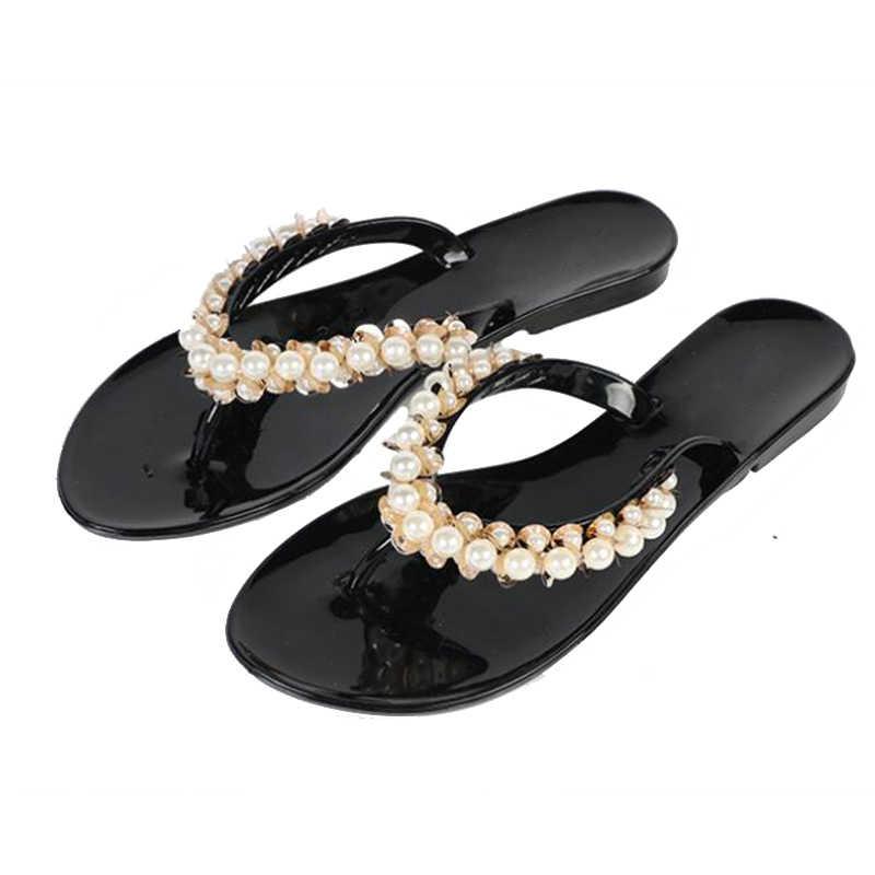 81fce2f597760 ... COVOYYAR 2019 Bohemia Beaded Women Flip Flops Summer Beach Slippers  Female Bling Pearl Decor Slide Flat ...