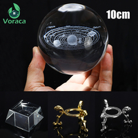 K9 100mm 3D Crystal Ball with Metal Holder Rack Home Decor Glass Globe Solar System Crystal Ball Photography Prop Tabletop Ornament