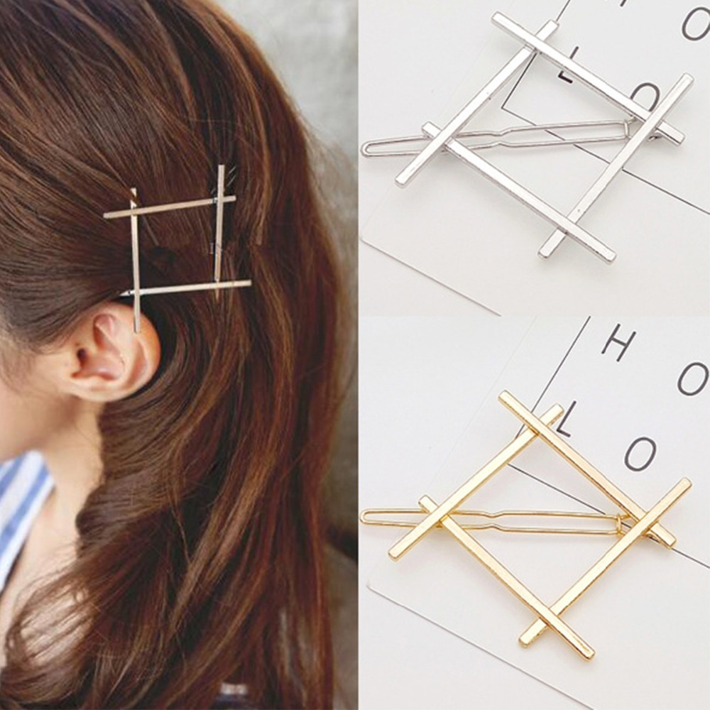CN Hair Accessories Geometry Cute Hair Clip For Girls Metal Delicate Hair Decorations Gold Jewelry Women Hairpins   Headwear