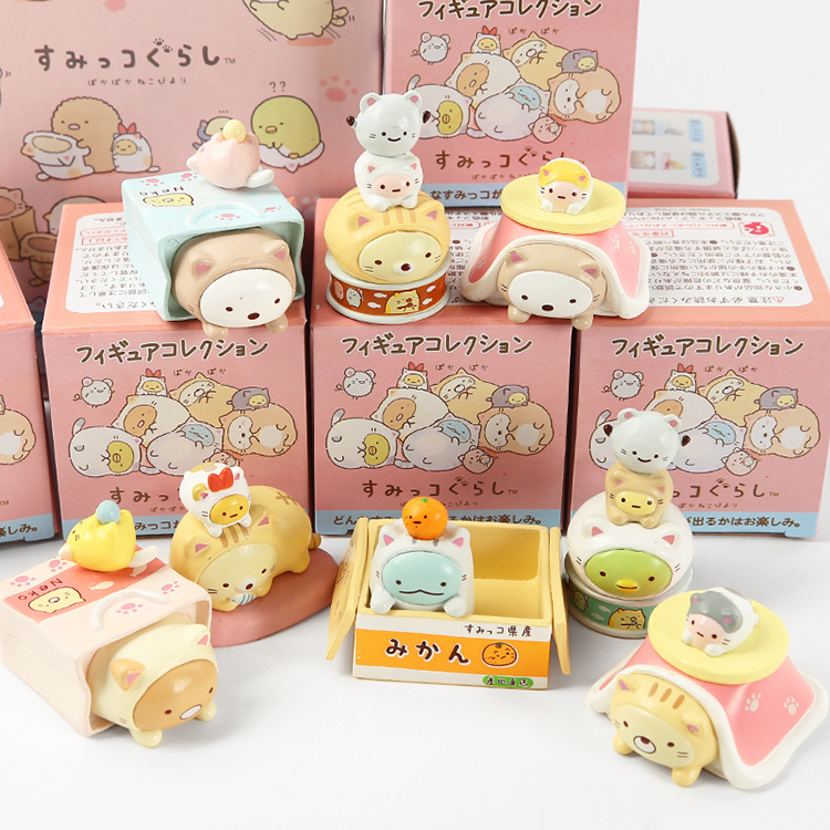 JY 8pcs/lots Japan Dress Up Cute Cat Series Corner Creature Ornaments Decorative Action Figures Vinyl Doll  WJ01