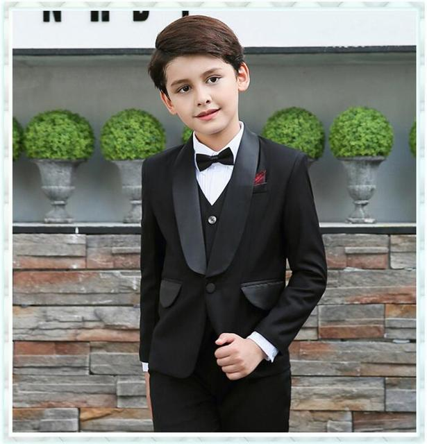 1671f4988904 Boys Formal Suits for Weddings England Style Child Boy Black Party Tuxedos Boys  Formal Suits Vest+Pants+Shirt+Tie 4-14Y