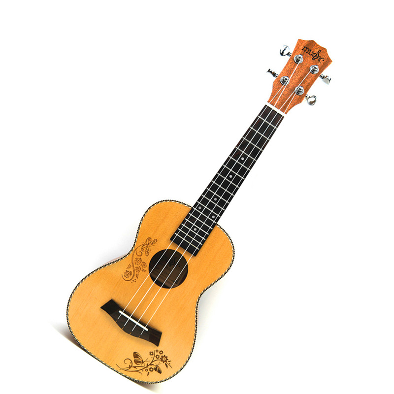 Concert Acoustic Ukulele 23 inch Spruce Hawaiian 4 Strings Guitar Electric Ukelele Butterfly love flower pattern with Pickup EQ salmon