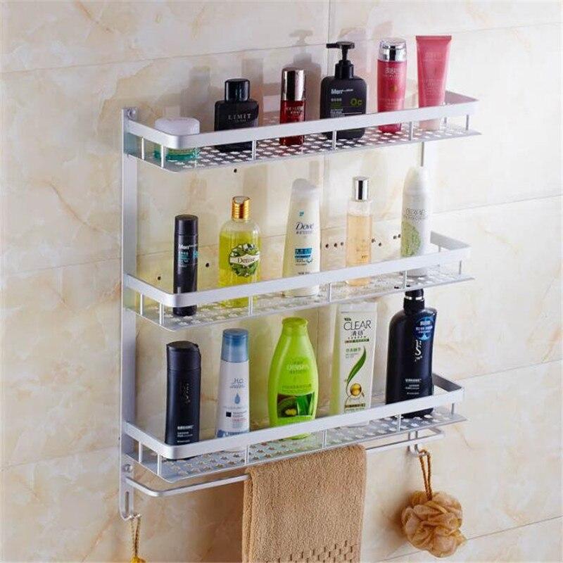 The new hot towel rack space aluminum hook toilet bath towel rack pole double fold more activities shelf стоимость