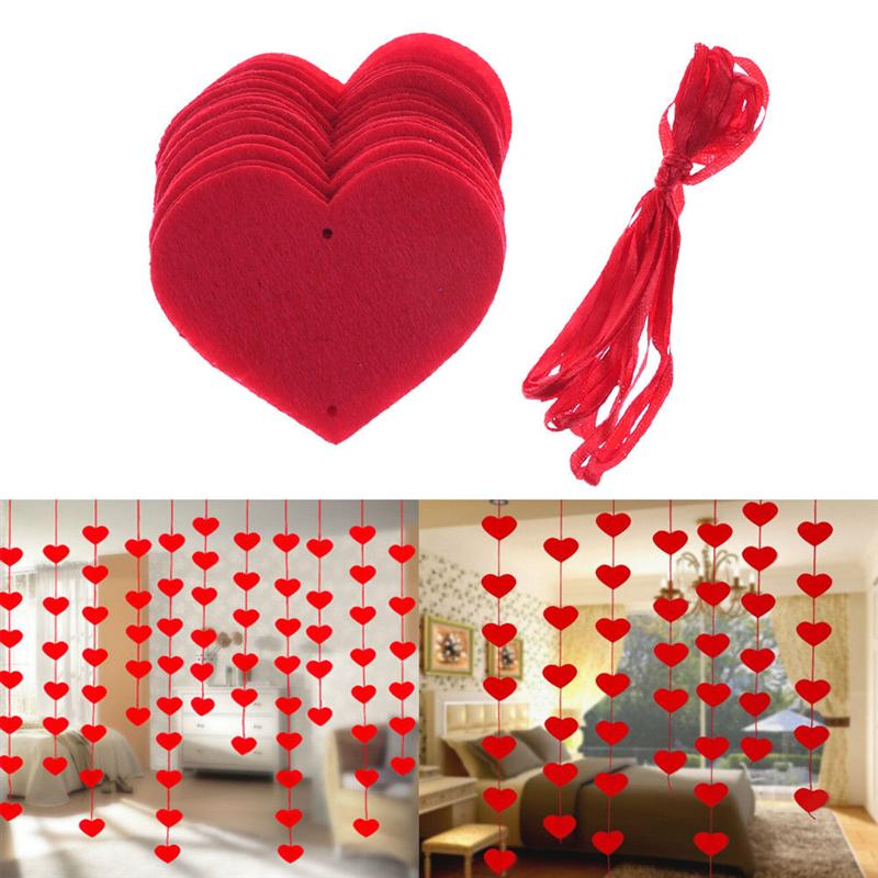 BESTOYARD 16pcs Hanging Red Heart String Valentines Day