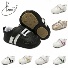 baby shoes 2019 new Striped newborn shoes Rubber bottom girls shoes Pu upper boys Indoor slip toddler shoes First Walkers