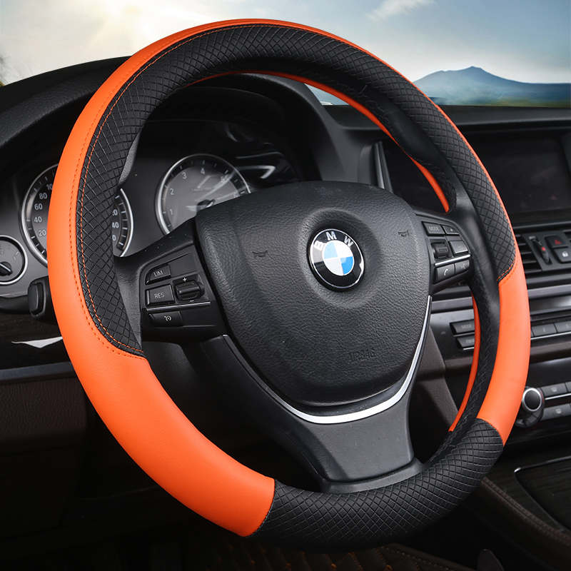 Universal 38CM PU Leather Car Steering-wheel Cover Anti-Slip Car-styling Sport Auto Steering Wheel Covers Automotive Accessories