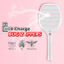 LED rechargeable electric mosquito swatter USB charging Bug zappers Fly killer Pest control 3-layer protection net