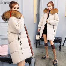 Brieuces 2018 Long Parkas For Women Winter Coat Faux Fur Collar Hooded Cotton Slim Warm Jacket Jackets And