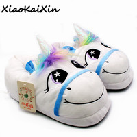 2017 Winter Warm Indoor Slippers Cute Cartoon Plush Unicorn Slippers For Grown Ups Unisex Home Slippers