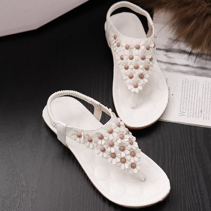 Summer Sandals Women Boho Flip Flop Sandals Bohemia Style Flat shose Flowers Shoes Casual Wedge Clip Toe Beach Shoes size35-41