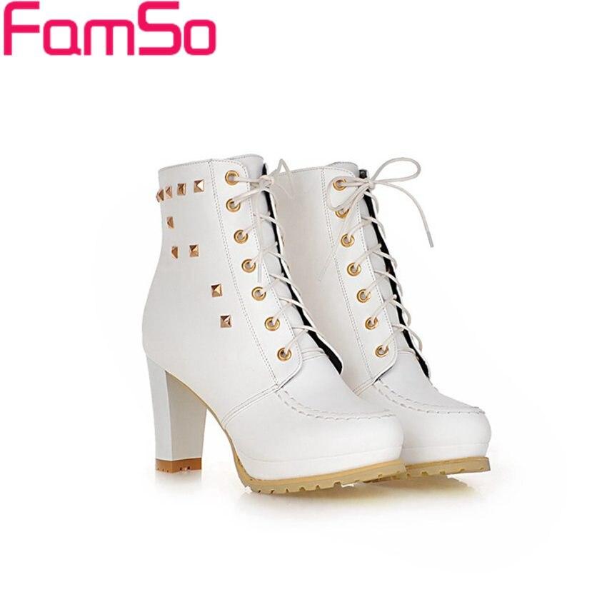 Plus Size34 43 2016 New Sexy font b Women b font Boots Autumn Rivets platforms pumps
