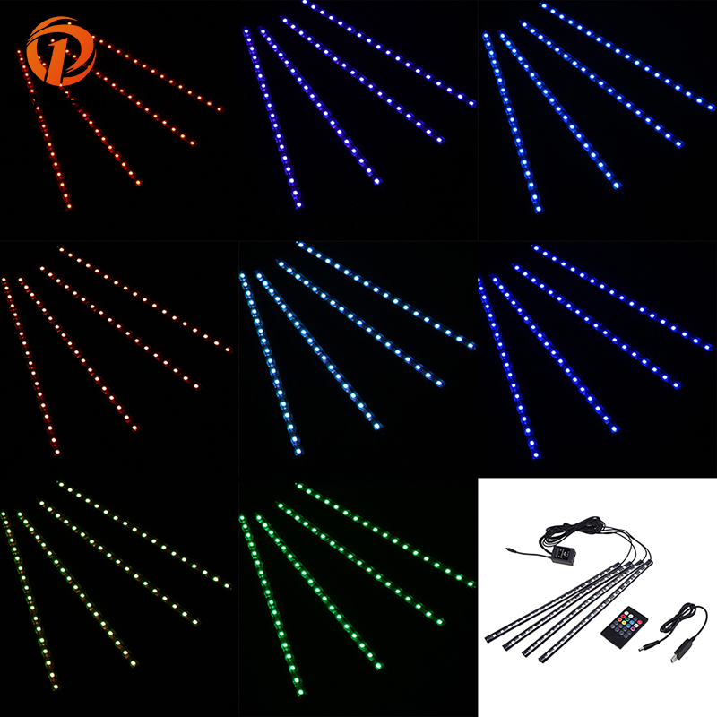 POSSBAY 18 LED RGB Colorful 4 In 1 Glow LED Car Interior Atmosphere Neon Decoration Lamp with USB/Cigarette Remote Control