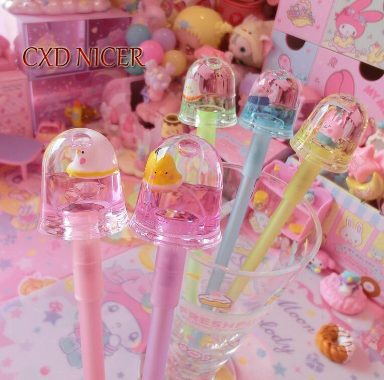 Chicken Cute Rafting Liquid Gel Pen Cute Go Swimming Cartoon Animal Student Stationery Dynamic Pen School Supply Chancellory
