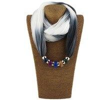 Pintado gradiente cores multicolors resina pingente cachecol Mulheres primavera e no Outono longo xale lenço de seda colar WF02