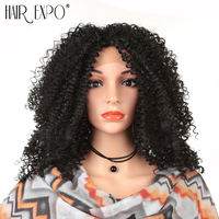 Hair Expo City Kinky Curly Wig Synthetic Hair Short Lace Front Wigs Natural Hairline Heat Resistant 12 inchFor Black Women
