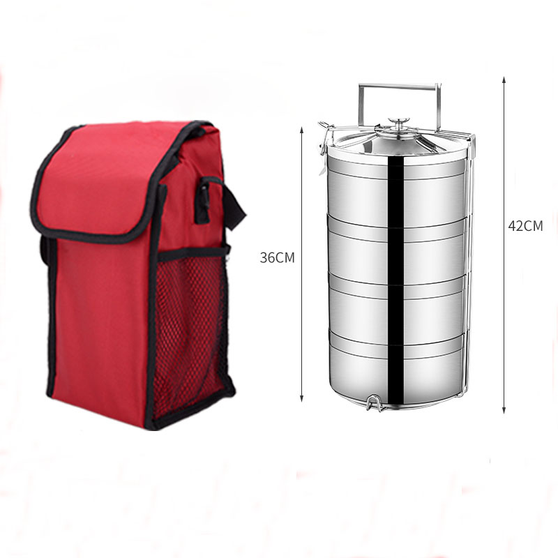 Stainless Steel Lunch Box Insulation Leakproof Bento Boxes Heat preservation Containers Large Capacity Handle Four Layer in Lunch Boxes from Home Garden