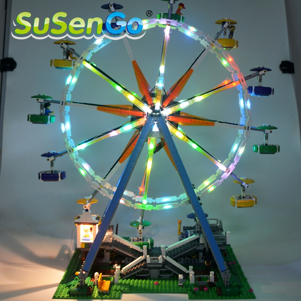 SuSenGo Led Light Blocks Up Kit For City Street Ferris Wheel Model Building Kits Marvel Compatible With Model 10247 15012