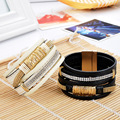 The New Unisex All-Match Fashion Punk Top grade leather Metal Rivet Multilayer Wide Bangles Never out of season