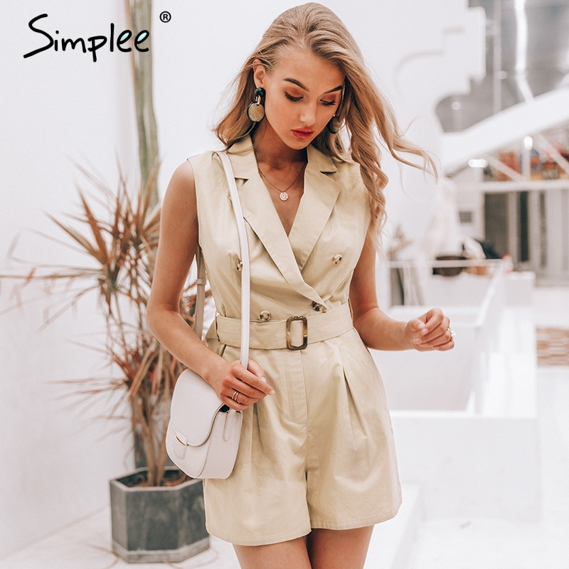 Simplee Elegant sashes khaki cotton women playsuit Summer pockets button zipper rompers womens   jumpsuit   Office ladies overalls