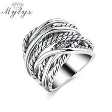 Mytys ретро унисекс белого золота цвет винтажные металлические кольца нерегулярные цепи модные украшения Новое поступление массивное кольцо R1211