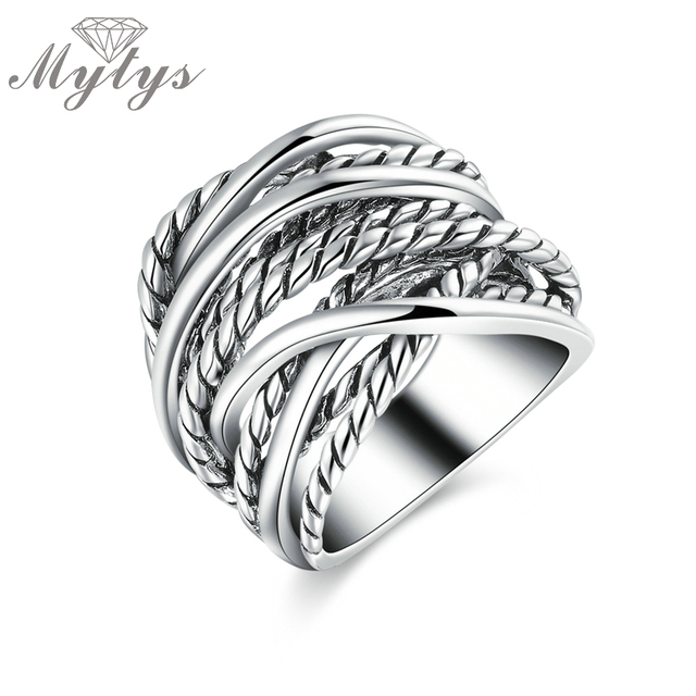 Mytys Retro Unisex White Gold Color Vintage Metal Rings Irregular Chain Fashion