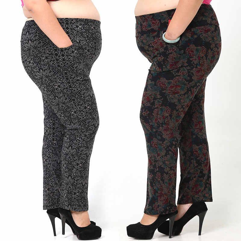 Quần Nữ Mùa Đông 2020 Pantalon Lớn Femme Capri Quần Dài In Hình Lưng Thun Plus Kích Thước 3XL-6XL Tuổi Trung Niên Quần JF265