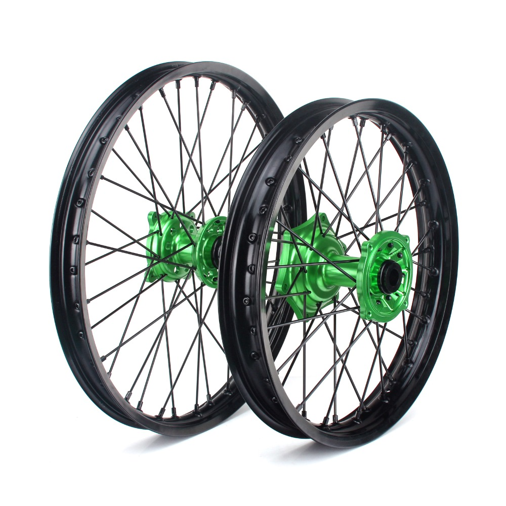 BIKINGBOY For KAWASAKI KX250F KX450F 06 17 KX 125 250 06 07 08 09 13 21*1.6 19*2.15 MX Front Rear Wheel Rims Hubs 36 Spokes