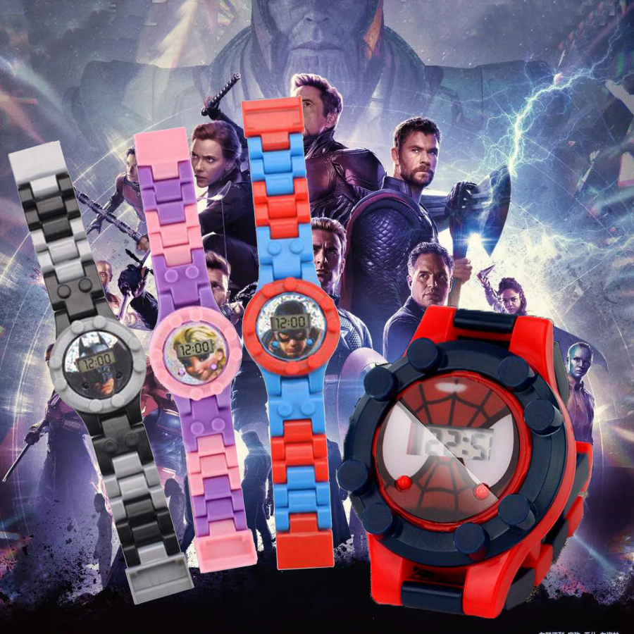 Princess Spiderman Superman Super Hero Building Block Watch Bricks Compatible Legoed LegoING Toys For Children Kids Watches Gift