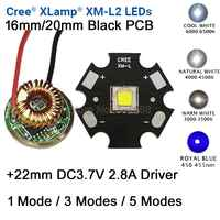 10W Cree XM-L2 T6 XML2 T6 luz LED 20mm negro PCB blanco cálido blanco neutro blanco + 22mm 5 modos de controlador para linterna DIY