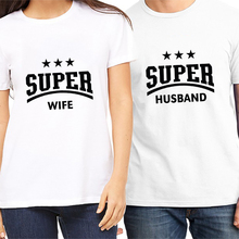 Newest t shirt for couples women t shirts super husband and wife couple clothes letter print t shirt brand tee shirts tops