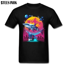 6a768febc4b20 Neon Synthwave Rad Shark Funny T Shirts Adult Natural Cotton Short Sleeve T  Shirt Designer Adult