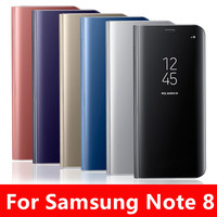 Mirror Flip Leather Case For Samsung Galaxy Note 8 Case Clear View Window Smart Cover For