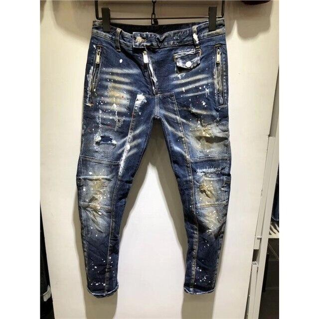 14357b9bce5 2019 New luxury Ripped Jeans Men Patchwork Moto   Biker Printed Beggar  Cropped Pants Man Cowboys Demin Pants Male outdoor 28-38