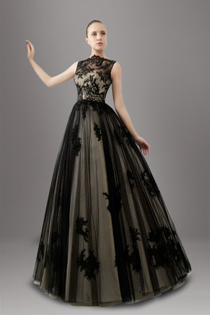 Black Two Tones A Line Non White Wedding Dresses Illusion Sleeveless Traditional Tulle Bridal