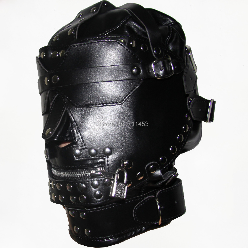 Luxury PVC Leather Head Hood Harness Adult Games Hoods Mask Mouth Zipper Goggles Fetish Fantasy Sex Slave Set adult games removeable fun headgear eye mask goggles penis mouth bite combination of sex toys