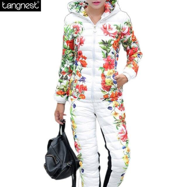 Tangnest abrigo de invierno trajes para mujeres 2017 chaquetas y abrigos de invierno remiendo de la impresión floral delgado caliente conjunto abrigo de algodón establece wat270