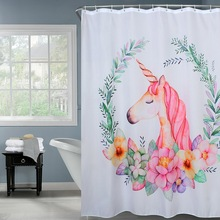 Happy Tree Polyester Unicorn and Flower Leaves Waterproof Shower Curtain Thicken Fabric Bathroom Curtain Pink Bath Curtain. waterproof two pandas and tree print bath curtain