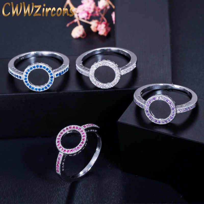 CWWZircons Elegant สีแดงสีม่วง Cubic Zirconia รักหมั้น Halo รอบแหวนแฟชั่นผู้หญิงแต่งงาน Band R129