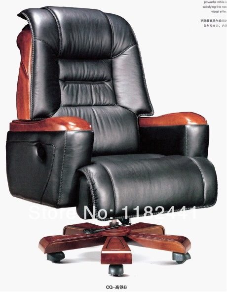 Ceo Office Chair With Top Genuine Leather And Solid Wood Material Antique Wooden Boss
