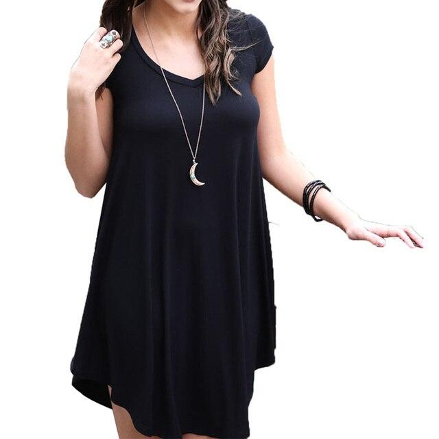 Sexy Schwarz V ausschnitt Frauen Sommer Kleid Shorts Mini Stretchy ...